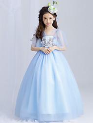 Vestido feminino da princesa andar de flor - algodão polyster mangas curtas v pescoço
