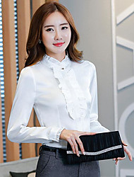 Women's Work Simple Blouse,Solid Shirt Collar Long Sleeves Polyester