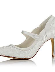 Women's Heels Basic Pump Fall Winter Net Satin Wedding Dress Party & Evening Button Stiletto Heel Ivory 3in-3 3/4in