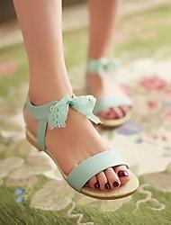 Mujer Zapatos PU Verano Confort Sandalias Tacón Plano Puntera abierta Para Casual Púrpula Claro Azul Rosa