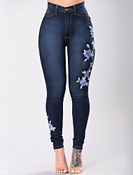 Women's High Rise Micro-elastic Skinny Jeans Pants,Street chic Slim Embroidered Embroidered