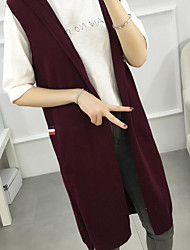 Women's Casual/Daily Long Cardigan,Solid Hooded Sleeveless Rabbit Fur Cotton Linen Fall Medium Micro-elastic
