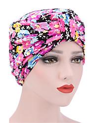 Для женщин Шапки Цветы Широкополая шляпа,Весна/осень Зима Хлопок С принтом Цветочный