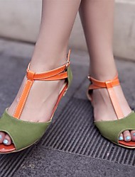 Women's Shoes PU Summer Comfort Flats Low Heel Peep Toe For Casual Beige Yellow Green