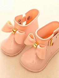 Девочки Ботинки Удобная обувь Резиновые сапоги Весна Лето Резина Повседневные Черный Бежевый Красный На плоской подошве