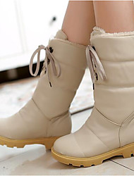 Women's Boots Comfort PU Winter Casual Comfort Beige 3in-3 3/4in