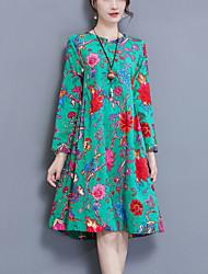 Ample Robe Femme Décontracté / Quotidien simple Chinoiserie,Imprimé Col Arrondi Mi-long Manches Longues Coton Lin Printemps Automne