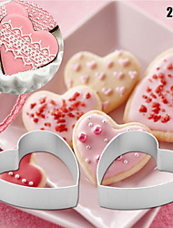 2pcs/set Christmas Kitchen small Loving Heart Shaped Aluminium Tools Alloy Pastry Biscuit Cookie Cutter Baking Mould