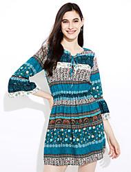 Femme Manches Evasées/Bohème/lacet mode européenne et américaine v-cou attachant manches en corne robe costume de ebay