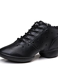 Women's Dance Sneakers Real Leather Sneakers Outdoor Stitching Sided Hollow Out Flat Black 1 - 1 3/4 Customizable