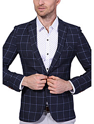Men's Plus Size Fashion Plaid One-Buckle Party/Cocktail Casual/Daily Work Simple S Blazer/Cotton Polyester