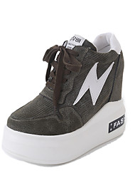 Women's Heels Walking Formal Shoes PU Fall Casual Office & Career Dress   Wedge Heel Army Green Gray Black 3in-3 3/4in