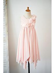 a-line платье девушки цветка колена - тюль без рукавов v шея с цветком по thstylee