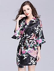 Robe de chambre Satin & Soie Vêtement de nuit Femme,Sexy Imprimé Imprimé Polyester
