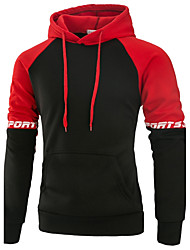 Men's Running Going out Casual/Daily Simple Hoodie Color Block Patchwork Hooded Inelastic Polyester Spandex Long Sleeve Fall Winter