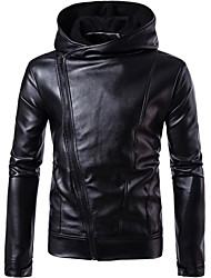 Men's Going out Casual/Daily Street chic Fall Winter Leather Jacket,Solid Hooded Long Sleeve Regular PU