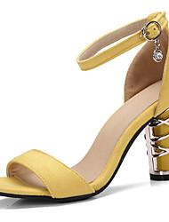 Damen Sandalen Komfort Leuchtende Sohlen PU Sommer Normal Kleid Schnalle Blockabsatz Schwarz Gelb 5 - 7 cm