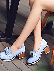 Feminino Sapatos Couro Ecológico Verão Conforto Saltos Com Para Casual Branco Azul Rosa claro