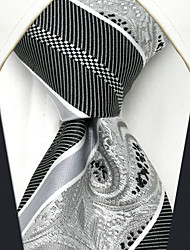 UXL29 Classic Unique For Men Neckties  Fashion Silver Stripes Paisley 100% Silk Business