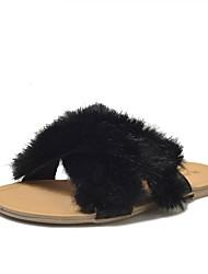 Для женщин Сандалии Удобная обувь Весна Осень Шерсть Повседневные Для праздника Для вечеринки / ужина На плоской подошве Белый ЧерныйНа