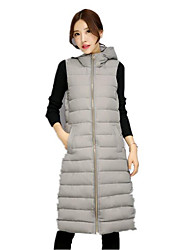 Women's Casual/Daily Simple Fall Winter Vest,Solid Hooded Sleeveless Long Cotton