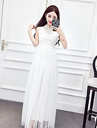 Women's Casual/Daily Swing Dress,Solid Crew Neck Maxi Sleeveless Others Summer High Rise Inelastic Sheer