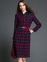 Women's Going out Loose Dress,Solid Plaid Shirt Collar Above Knee Long Sleeves Cotton Fall Mid Rise Micro-elastic Thin