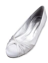 Для женщин Свадебная обувь Удобная обувь Балетки Сатин Весна Лето Свадьба Для праздника Для вечеринки / ужина Цветы из сатина Ленты Оборки
