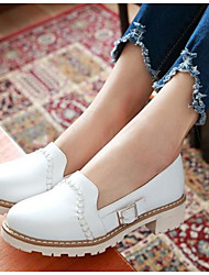 Women's Flats Comfort PU Spring Casual White Under 1in