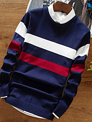 Men's Going out Casual/Daily Simple Regular Pullover,Striped Color Block Round Neck Long Sleeves Cotton Rayon Fall Winter Medium