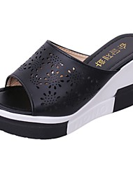 Women's Slippers & Flip-Flops Light Soles Spring Fall PU Casual Flower Wedge Heel Black White 2in-2 3/4in