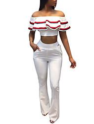 Manches Ajustées Pantalon Costumes Femme,Rayé Sexy Mode Quotidien Décontracté Vacances Hérissé Sexy Chic de Rue Printemps EtéManches