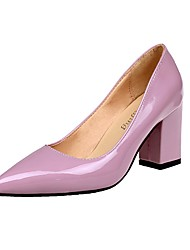 Для женщин Обувь на каблуках Удобная обувь Лето Полиуретан Повседневные Для праздника Блочная пятка Белый Черный Красный Розовый Вино 4,5