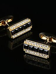 2017 New Luxury Shirt Cufflinks for Man Wedding Gift Brand Cuff Buttons Black Crystal French Cufflink Gold Abotoadura Jewelry