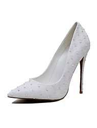 Women's Heels Basic Pump Flower Girl Shoes Microfibre Customized Materials Spring Fall Wedding Party & Evening Dress Imitation Pearl