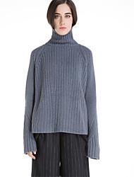 Mujer Regular Pullover Casual/Diario Simple,Un Color Escote Chino Manga Larga Lana Poliéster Otoño Invierno Medio Microelástico