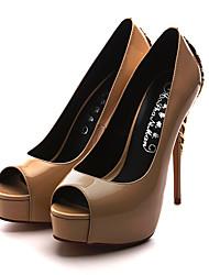 Для женщин Обувь на каблуках Лакированная кожа Лето Осень Для прогулок Заклепки На шпильке Черный Красный Миндальный 7 - 9,5 см
