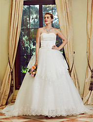 Princess Strapless Court Train Tulle Wedding Dress with Sequin Embroidered
