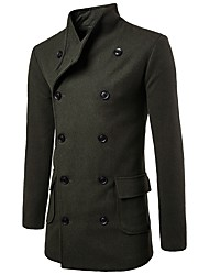 Men's Going out Casual/Daily Simple Winter Trench Coat,Solid Stand Long Sleeve Long Cotton