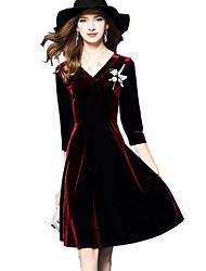 Mujer Línea A Vestido Fiesta Noche Casual/Diario Vintage Chic de Calle Sofisticado,Retazos Escote en PicoHasta la Rodilla Sobre la