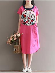Ample Robe Femme Décontracté / Quotidien simple Chinoiserie,Imprimé Col en U Midi Manches Courtes Rayonne Eté Taille Normale
