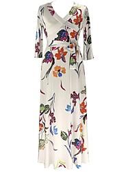 Для женщин На каждый день Большие размеры Уличный стиль Оболочка Платье Цветочный принт,V-образный вырез Макси Рукав 3/4 Хлопок Полиэстер