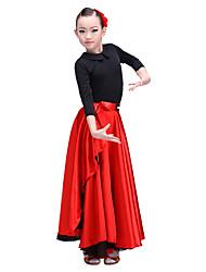 Danse latine Bas Enfant Spectacle Emulation de soie de haute qualité Mousseline de Soie Satin 1 Pièce Taille basse Jupes