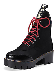 Women's Boots Fashion Boots Bootie Fall Winter Leatherette Casual Outdoor Dress Lace-up Chunky Heel Yellow Black 1in-1 3/4in