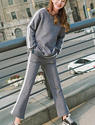Mujer Simple Vintage Noche Casual/Diario Otoño Invierno Sudadera Pantalón Trajes Un Color Patrón Moda Manga Larga Encaje Microelástico
