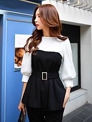 T-shirt Da donna Per eventi Per uscire Casual Ufficio Vintage Semplice Sofisticato Primavera Autunno,Monocolore Rotonda Cotone Elastene