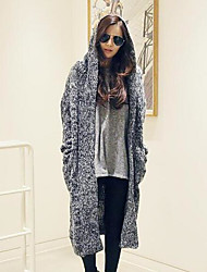 Women's Casual/Daily Simple Long Cardigan,Solid Geometric Hooded Long Sleeves Cotton Fall Winter Medium Micro-elastic