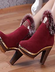 Feminino Botas Conforto Pele Real Outono Inverno Casual Salto Grosso Preto Vermelho 10 a 12 cm