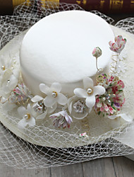 Tulle Chiffon Imitation Pearl Fabric Silk Net Headpiece-Wedding Special Occasion Birthday Party/ Evening Fascinators Hats 11 Piece