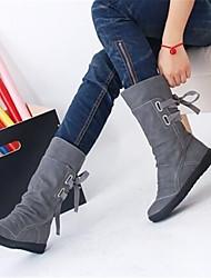 Damen Schuhe PU Herbst Winter Komfort Stiefel Mit Für Normal Schwarz Grau Braun